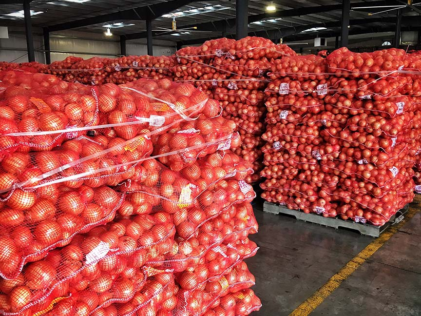 When you walk into a warehouse full of onions, the smell is pungent and delicious. I wish I could share it with you. One of these days there will be an app for that!