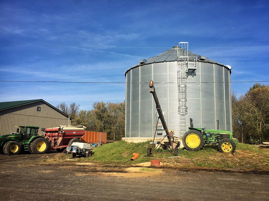 Corn and soybeans are stored in silos.
