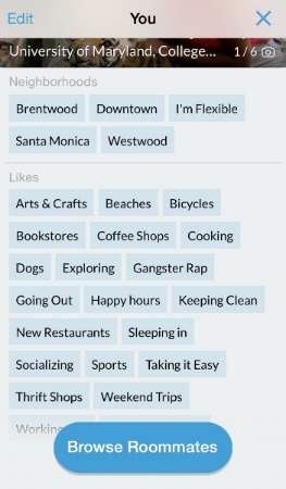 Roommates phone app profile