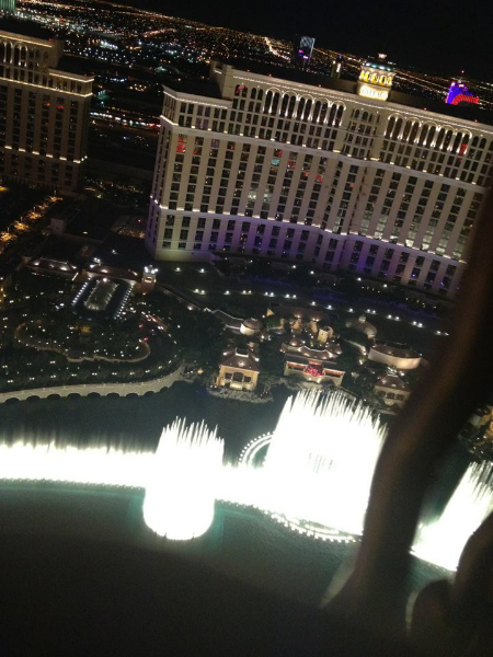 Bellagio's water show from the Eiffel Tower