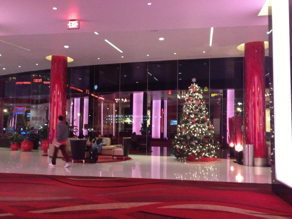 Holiday decor in Elara's lobby