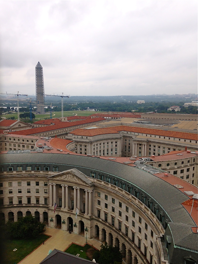 Views from  Washington's Old Post Office Pavilion  Tower - lots of government building and monument views