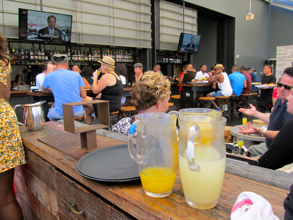 Lychee bellinis and traditional mimosa pitchers