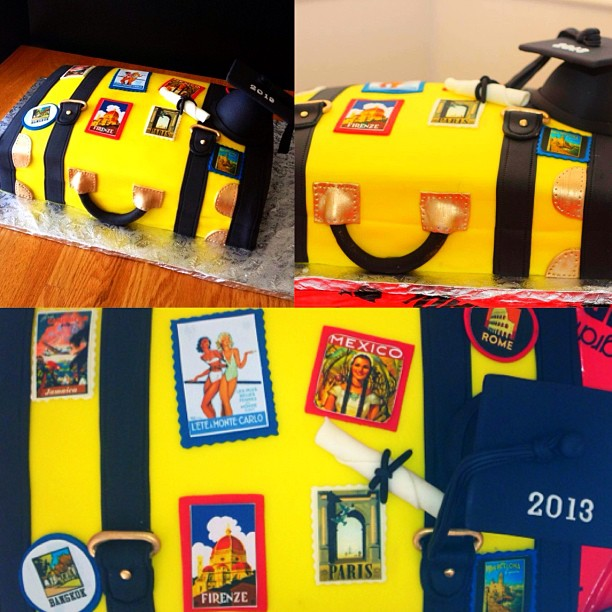 travel blogger suitcase cake graduation