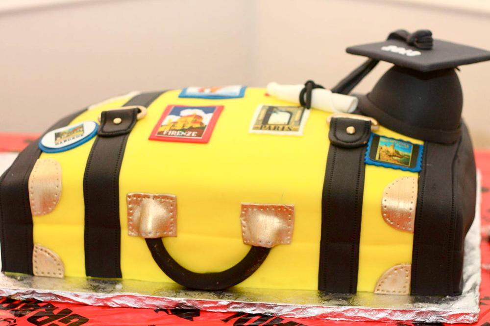 bon voyage luggage cake vintage