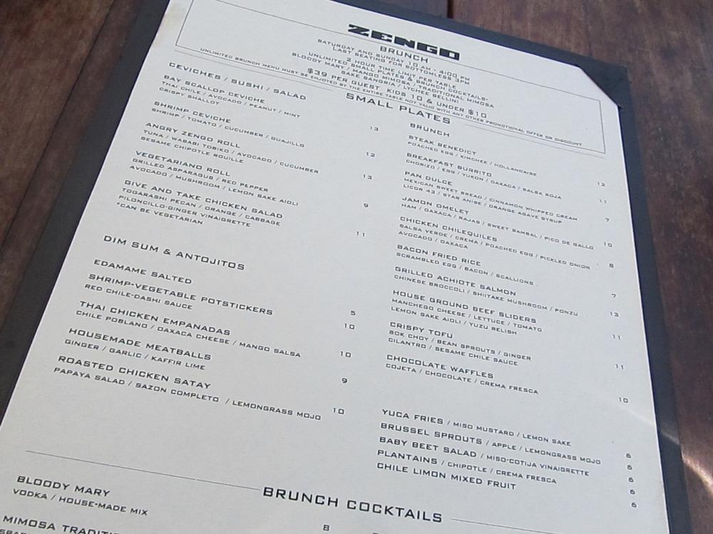 zengo brunch menu