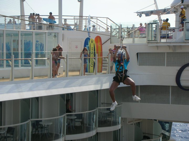 Zip lining on a ship
