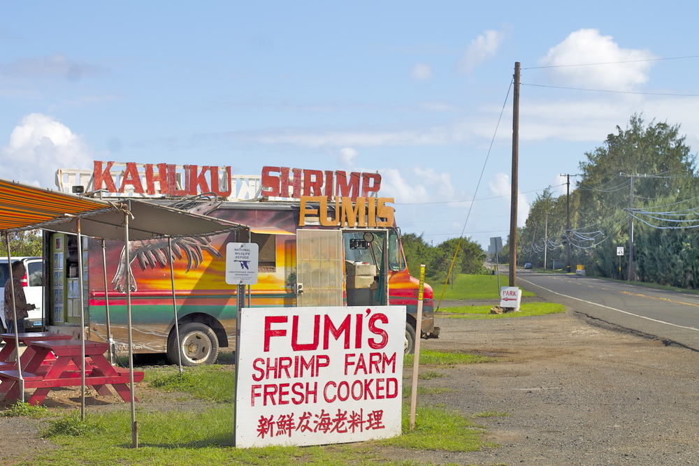 Fumi's Shrimp Truck -- they farm their own shrimp in on-site ponds behind their stands