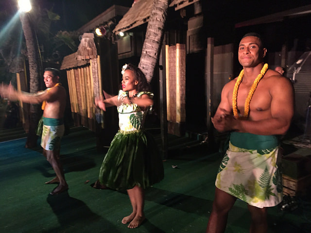 On stage learning hula!