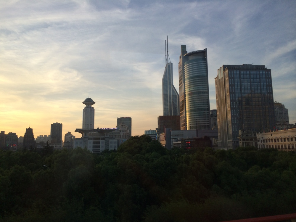 Sun rising in Shanghai