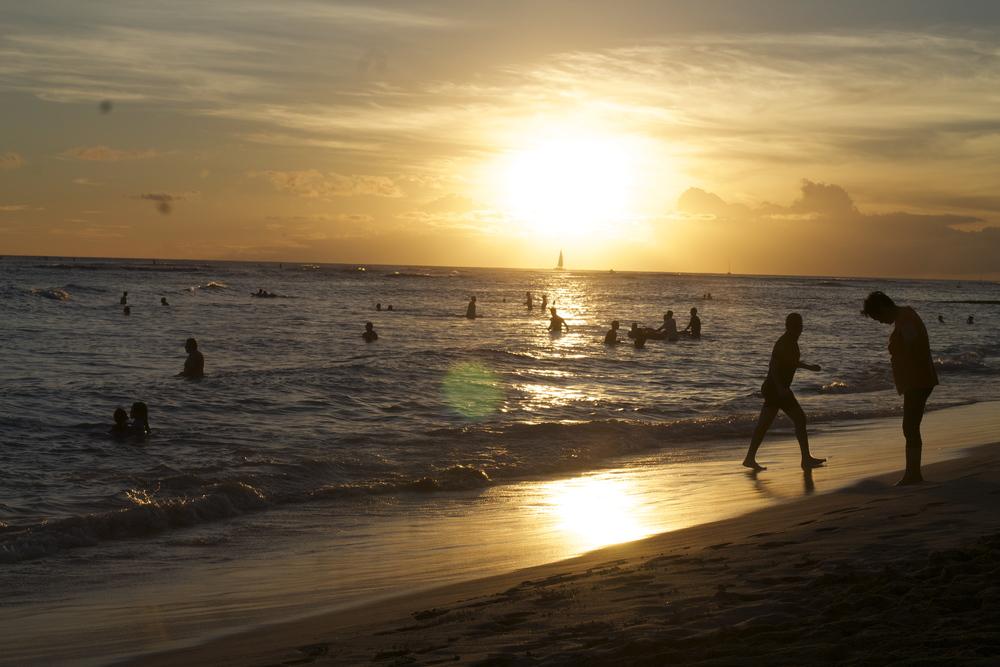 Waikiki Beach Beautiful Sunset