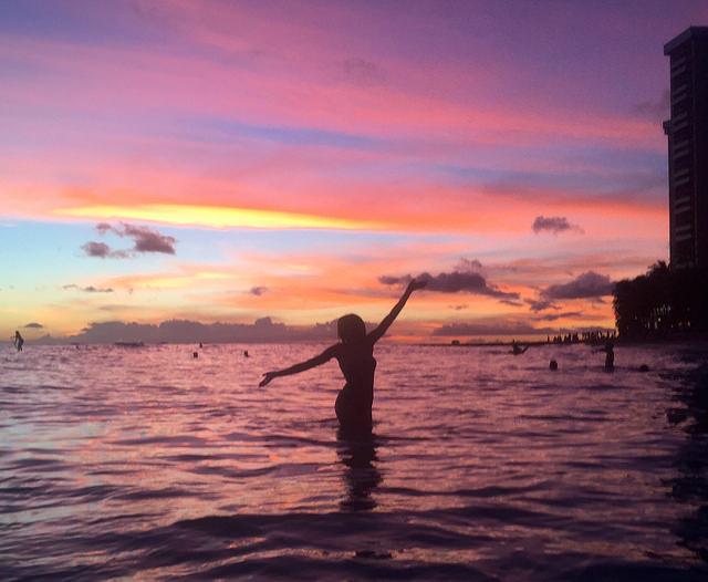 Waikiki Beach sunset hawaii