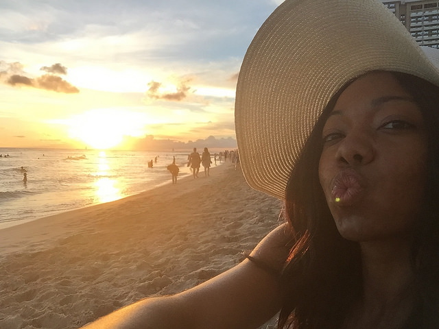 Waikiki beach sunset kisses