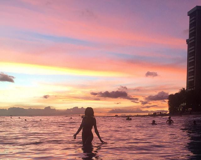 Sunset Beach Waikiki Silhouette