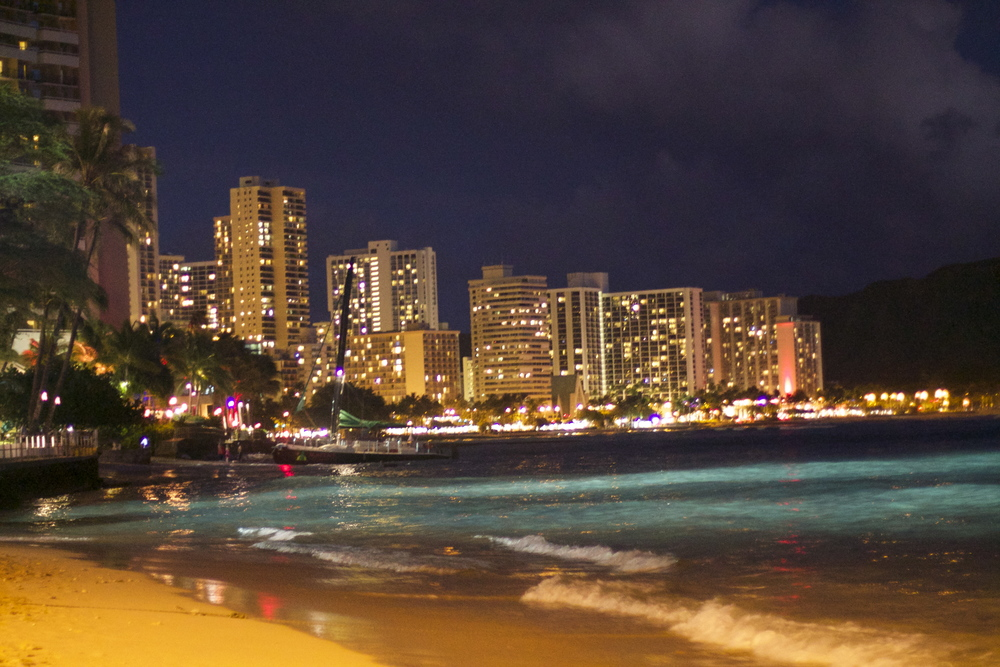 Honolulu Waikiki Beach at Dusk
