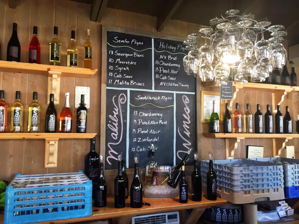 malibu winery menu