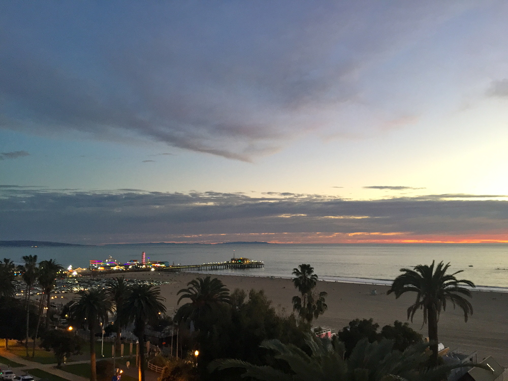 Santa Monica Pier and sunset view from Suite 700 Rooftop Bar