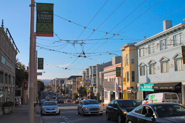 Trolley cables along a typical SF street