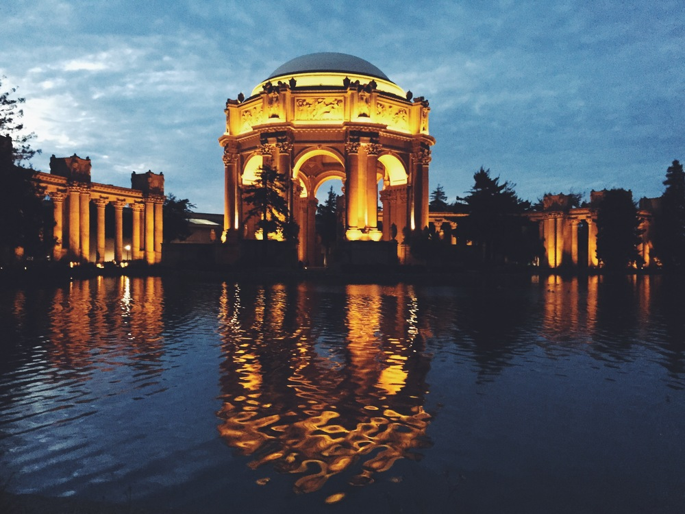 Palace of Fine Arts at dusk, with its magnificent reflection
