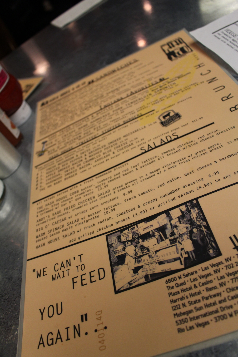 Hash House a Gogo Brunch Menu