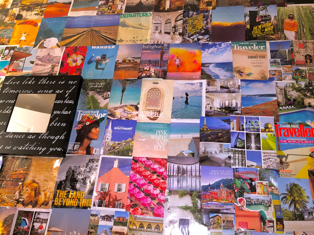 Visualizing my dreams - My vision wall in LA was created completely from pages of my favorite travel magazines