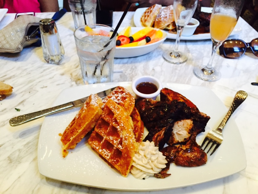 Jamaican jerk chicken and waffles for brunch. SO YUM. (Negril Village - Atlanta)