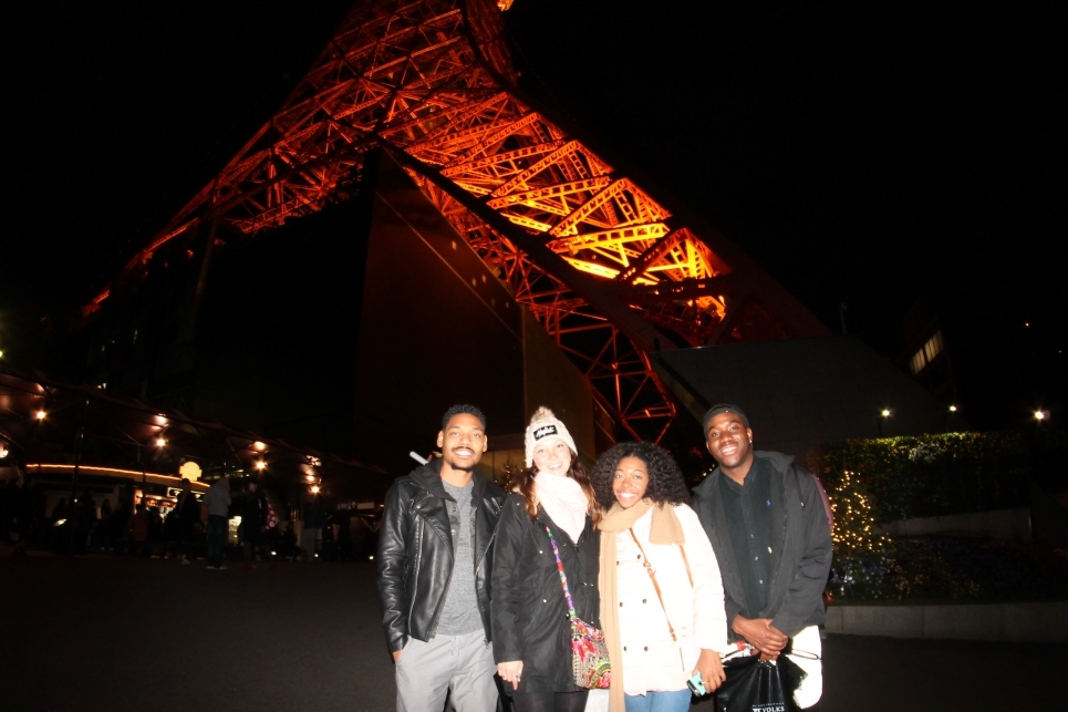 The crew outside of Tokyo Tower