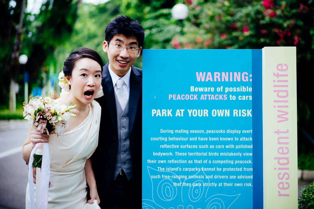 When Stephanie saw this, she couldn't resist a photo with the notice. A truly spontaneous and fun couple!