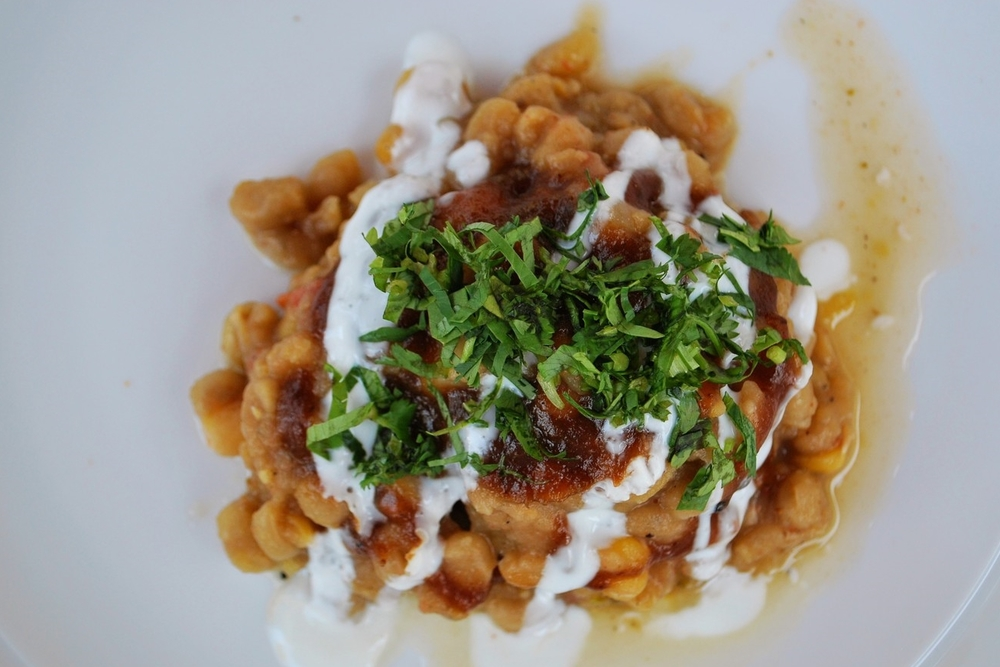 RAGDA PATTIES - Served Bombay Style - Spiced potato cakes with yellow peas