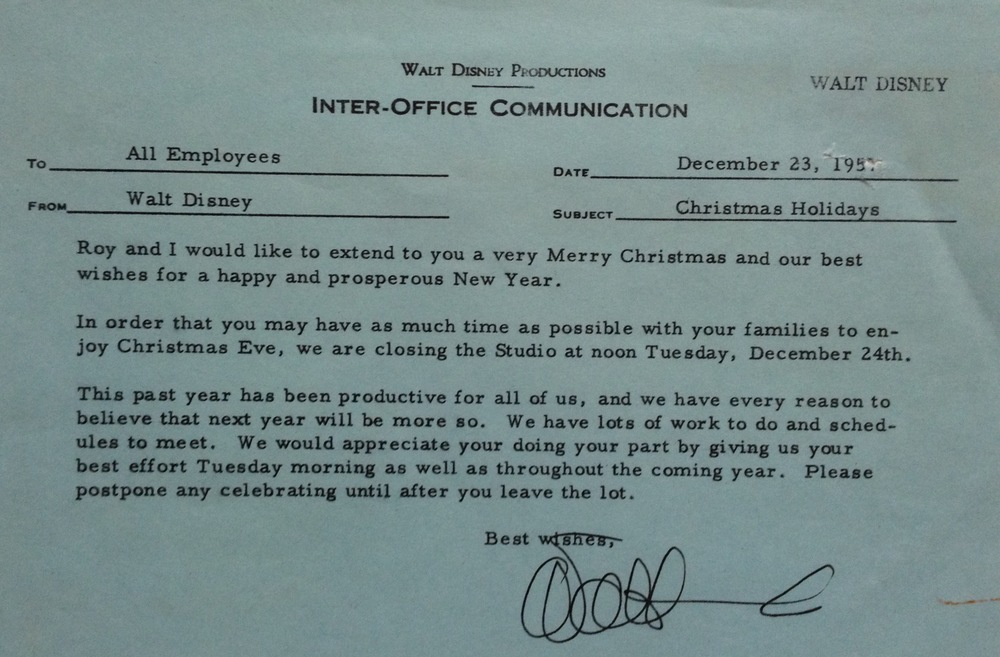 1957 Disneyland AllEmployee Holiday InterOffice Communication – Inter Office Communication