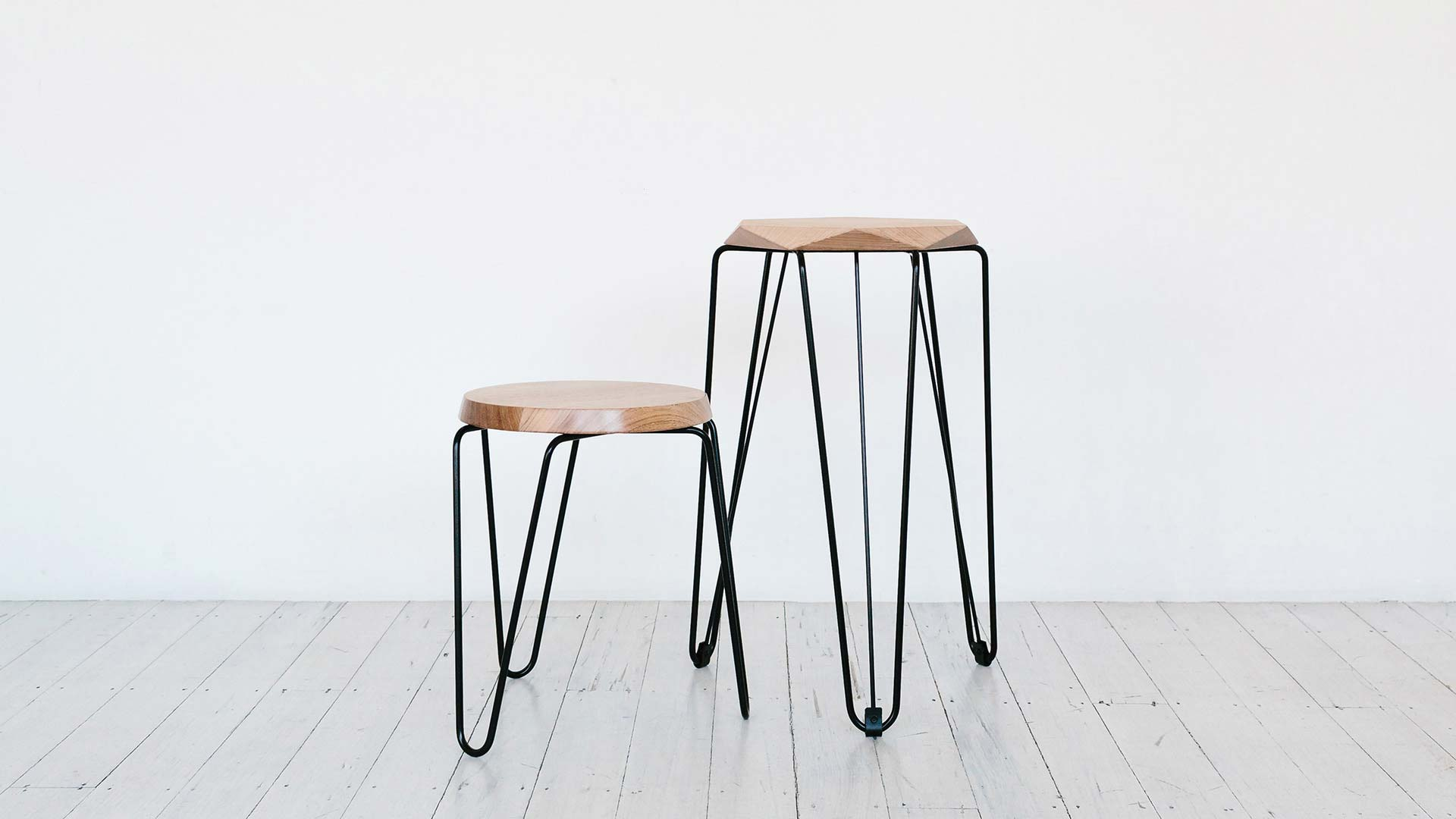 contemporary furniture designed made in melbourne australia tall short stools natural timber top black