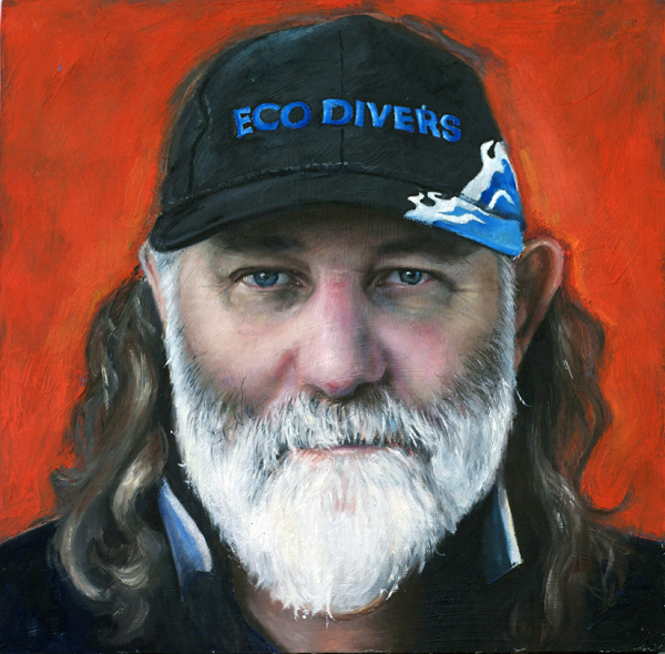 Dave Thomas, beeswax & oil on canvas, Face of Extraordinary project, Stephanie Galloway Brown