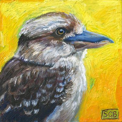 "The Early Bird, oil & wax on board, 6""x6"" ©GallowayBrown"