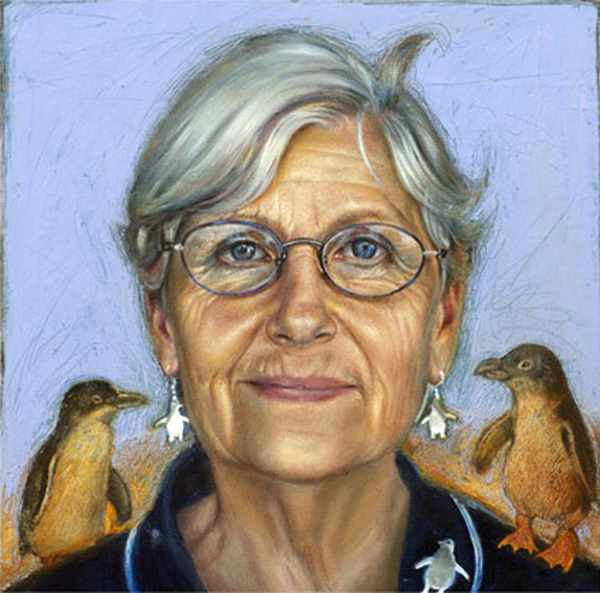 The Penguin Lady, oil and wax on canvas, Galloway Brown