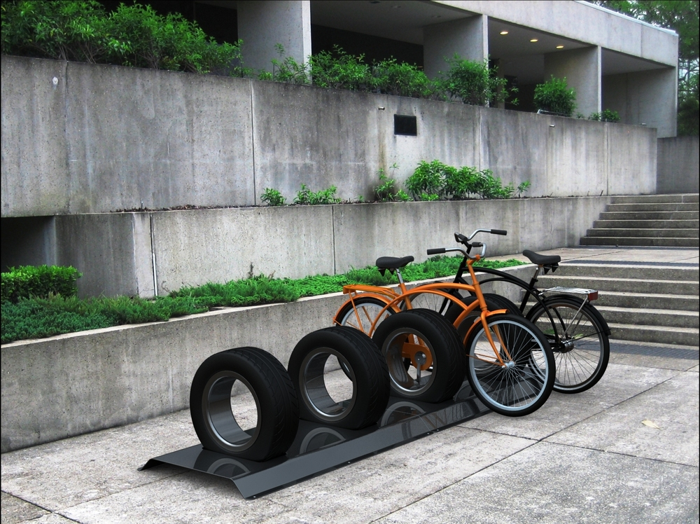 Recycled Car Tyres - Bicycle Attached