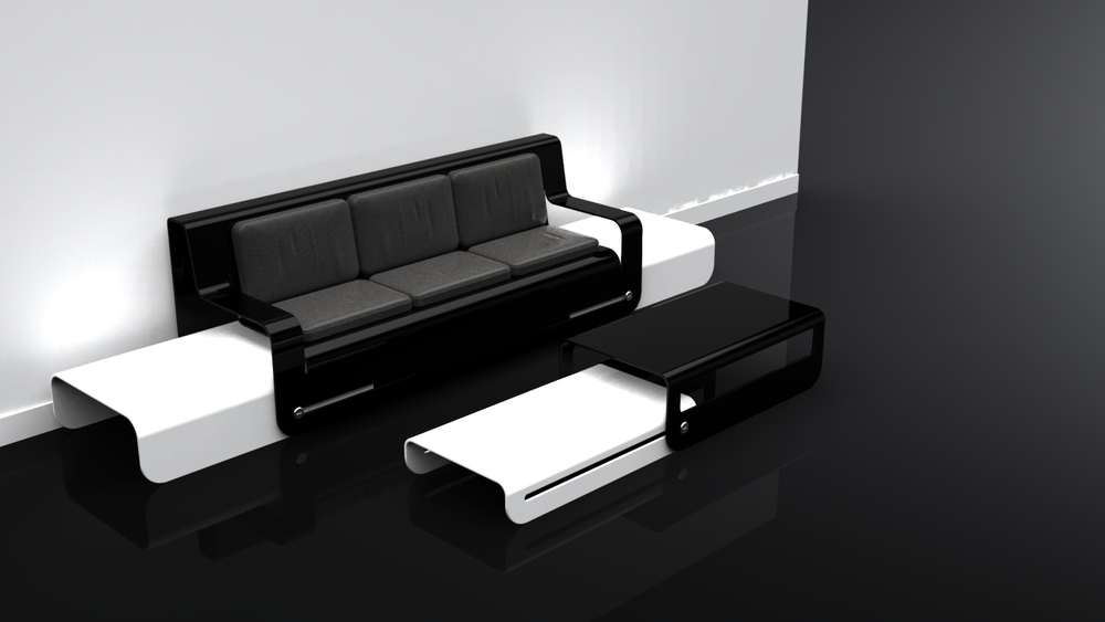 Side Slide (White) Black Coffee Table
