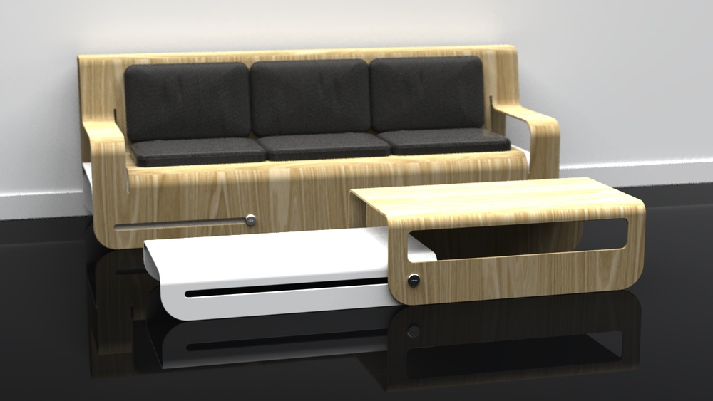 Dropwood Lounge + Side Slide (White) Coffee Table
