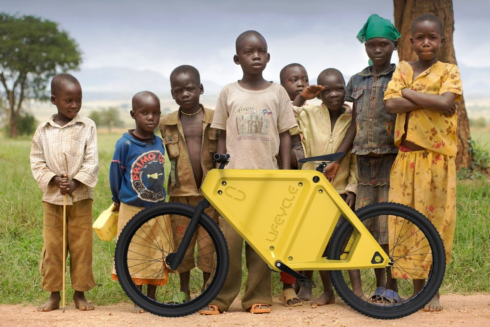 Concept Image - of some Ugandan village kids excited to receive their first LC1-C (Yellow Kids Frame).