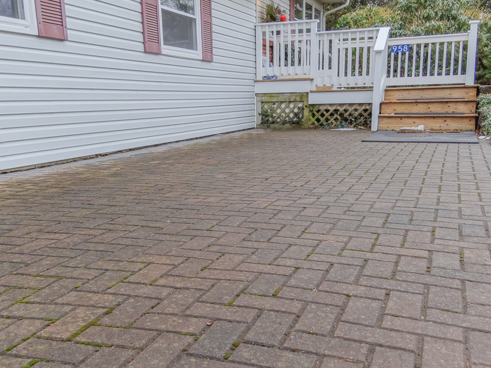 Inlaid brick patio and walks