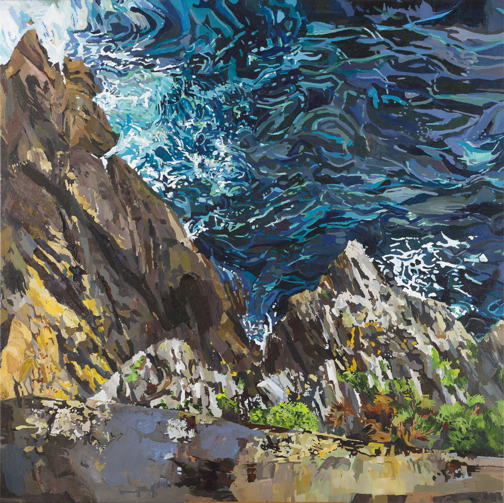 """Skellig Rock''  Framed size 100 x 115 Medium: Acrylic on canvas .Under Glass. Since shipping costs for originals vary greatly depending on destination, please talk to Geraldine directly if you are interested in a painting at ++353-(0)87-683 1751"