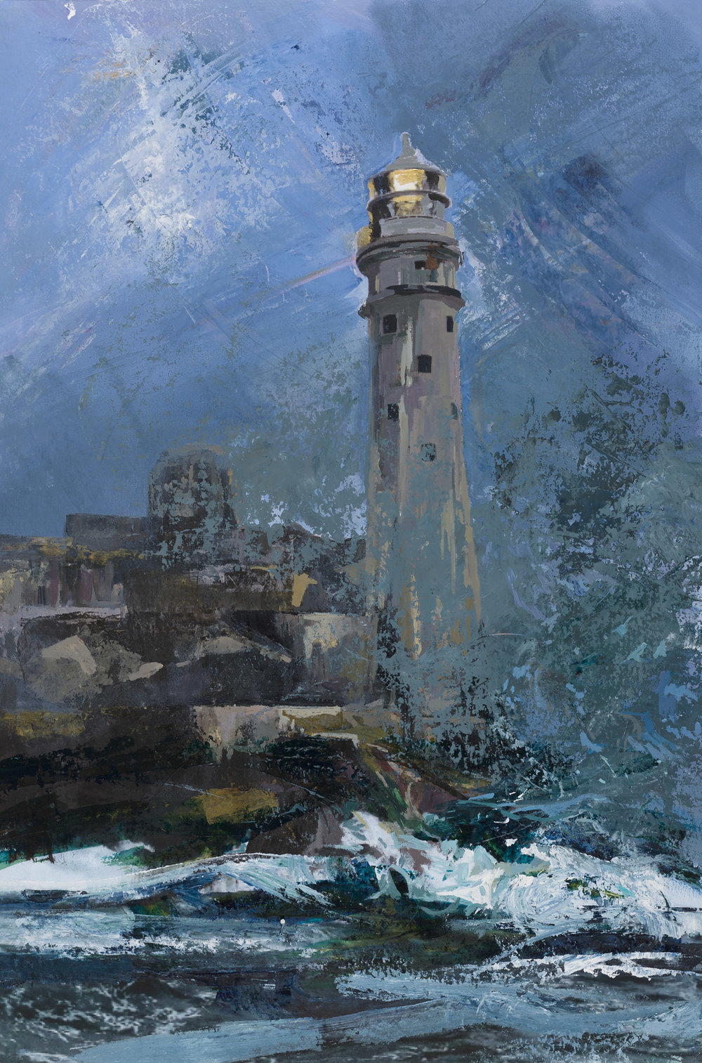 Fastnet Rock, early morning.  Acrylic on canvas, preliminary drawings.