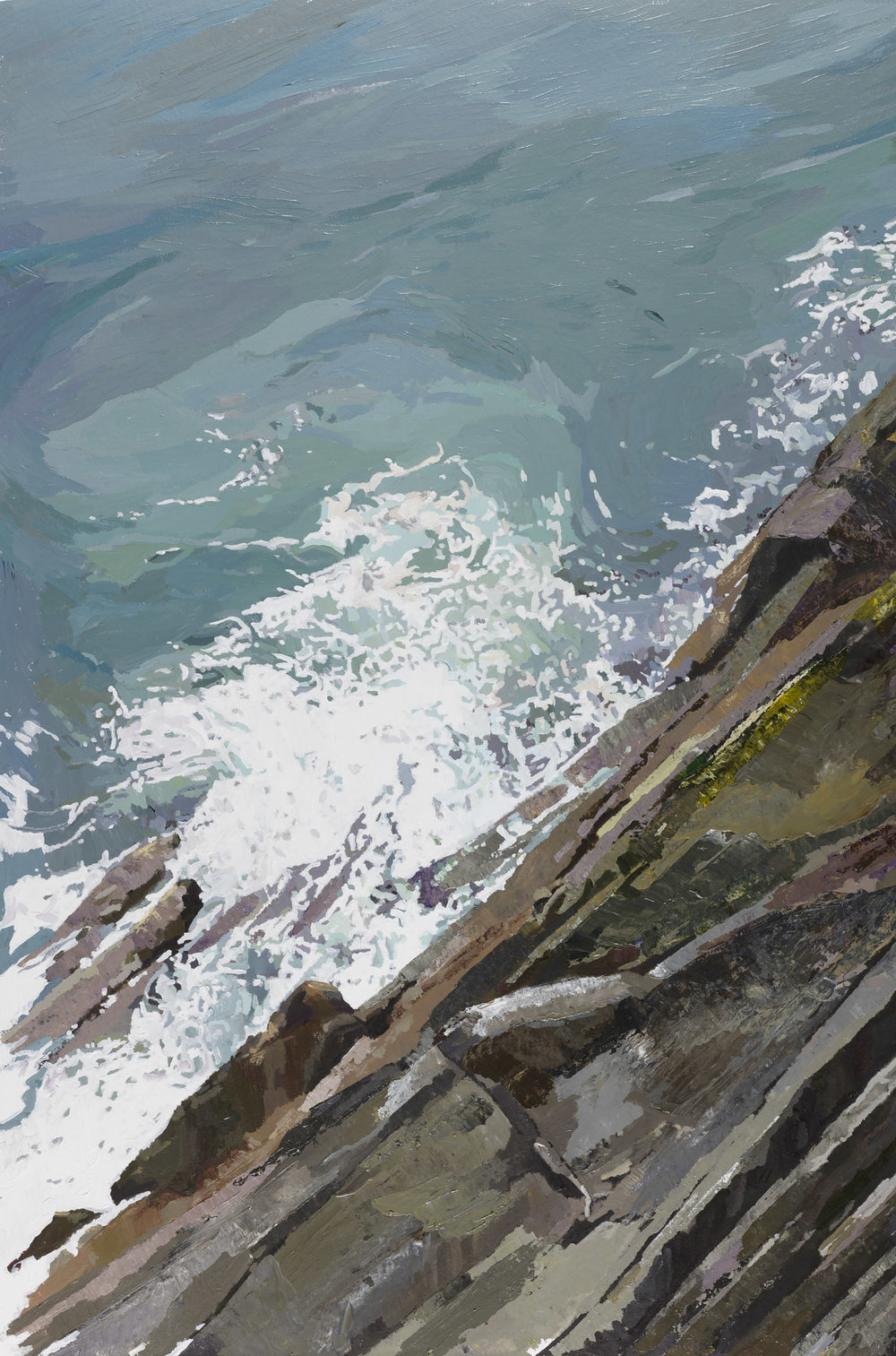 Old Head of Kinsale, looking down from the Lighthouse balcony.  Acrylic on canvas, preliminary drawings.