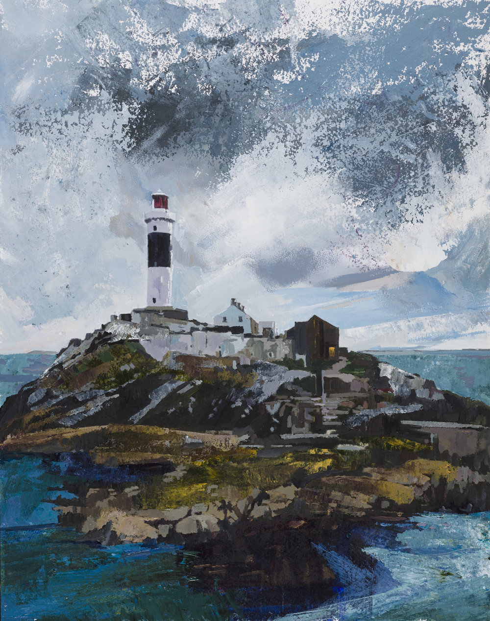 Rockabill Lighthouse, Skerries, Co Dublin . Acrylic on paper, 55cm x54cm Framed size.