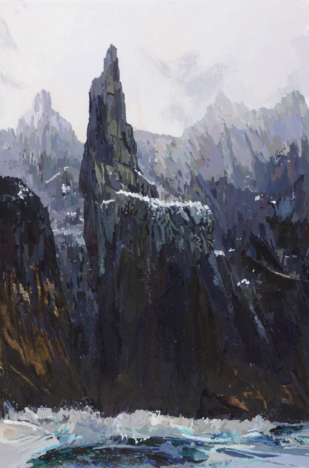 Mist Down Off Skellig Rock . Acrylic on canvas, preliminary drawings.