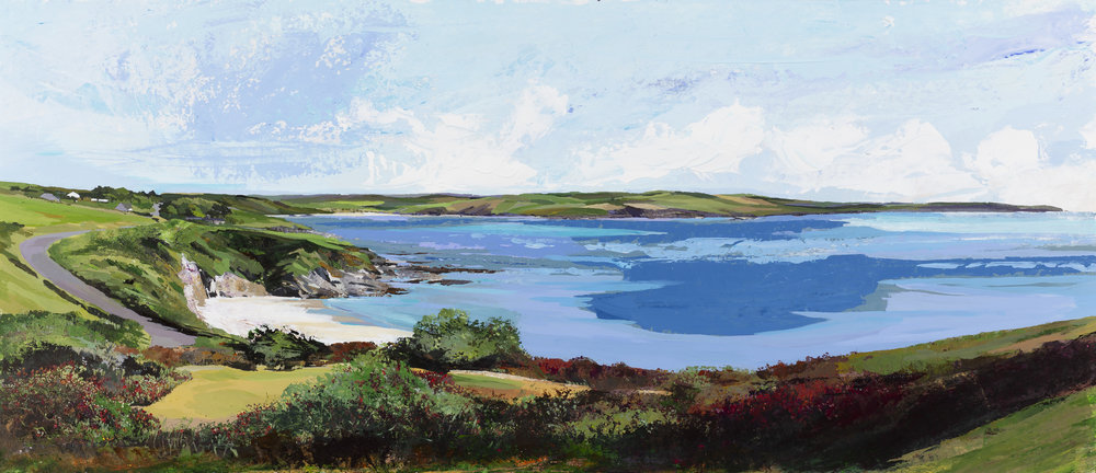 Duneen Strand and Clonakilty Bay with White Clouds - Acrylic on paper under glass - Framed size 68x115cm (1).jpg