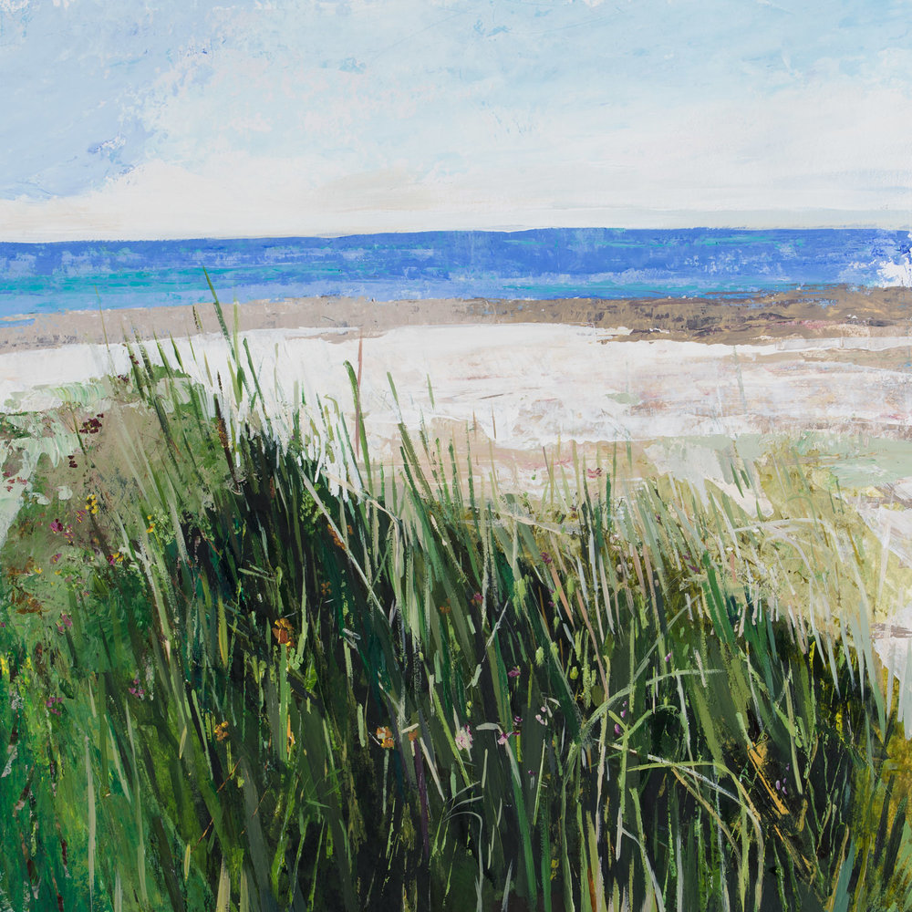 """Marram Grass, Inchydoney""  Framed size 55 x 54cm, Acrylic on watercolour paper. Under Glass. Since shipping costs for originals vary greatly depending on destination, please talk to Geraldine directly if you are interested in a painting at ++353-(0)87-683 1751"