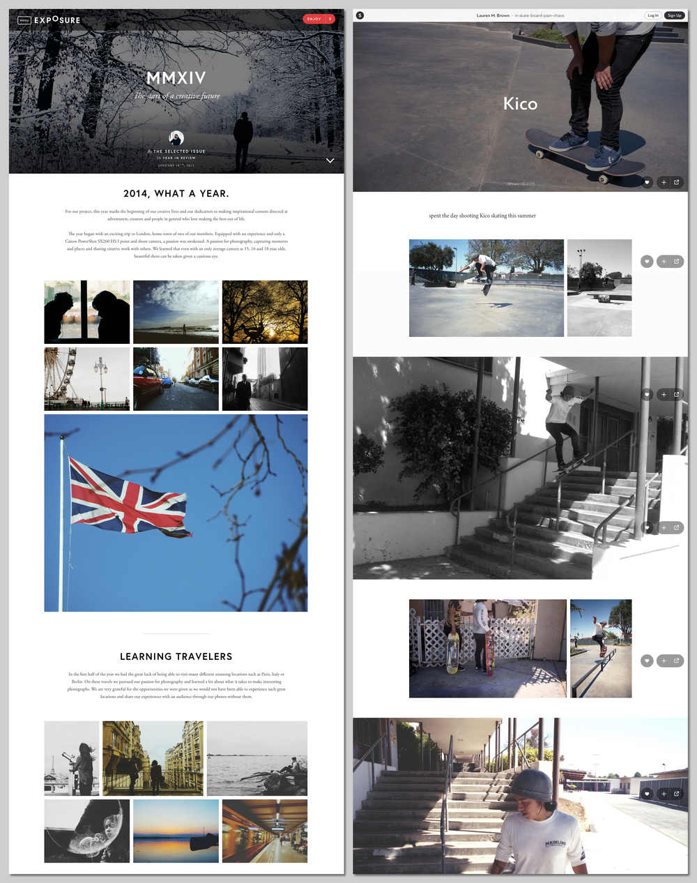 Screenshots from  The Selected Issue  on Exposure, and  Lauren Brown  on Stampsy.