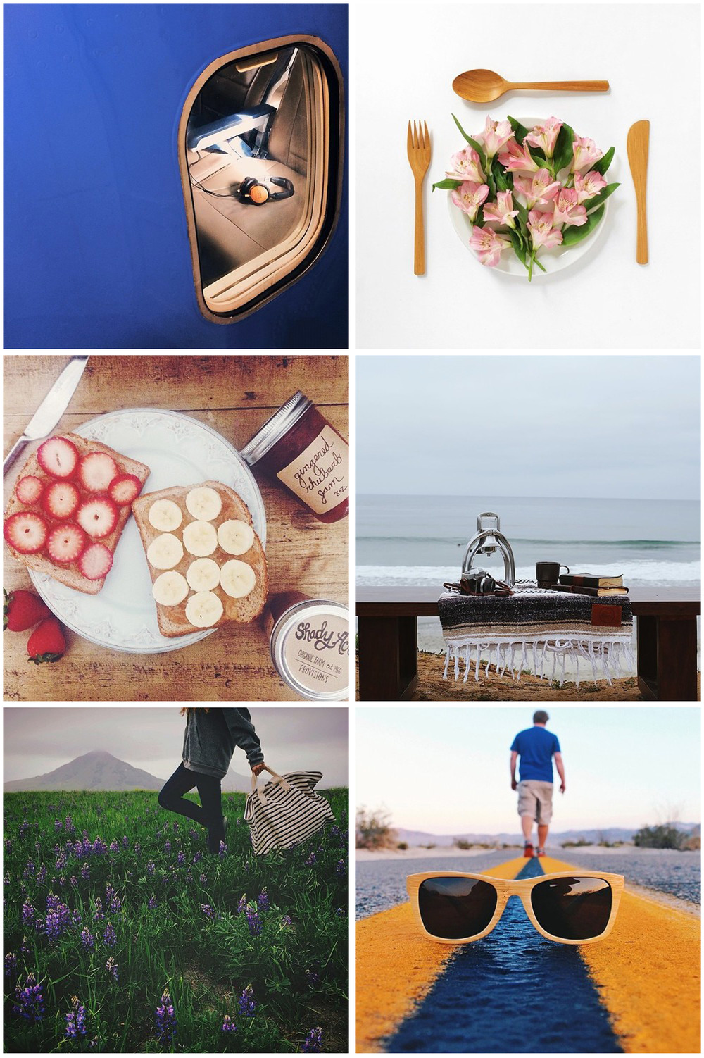 Images from an Earth Day campaign by Mobile Media Lab for Rodales. From top left, influential Instagrammers @brandenharvey, @cacahuete_sr, @flashesofstyle, @gregorywoodman, @mrsgrubby and @sar_m were all commissioned to post photos to their own feeds.