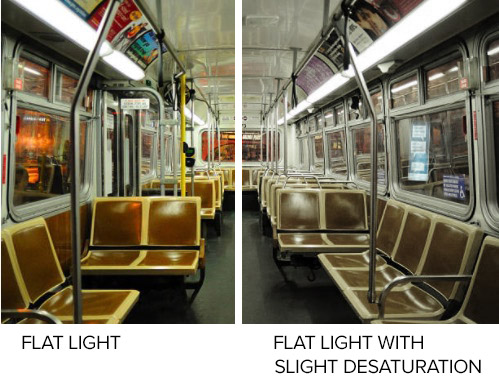 "The shot notes for the Subway call for ""bland and dreary"" lighting. We can shoot a straightforward flat light, or we could consider exagerating it even more with some slight desturation in post production."