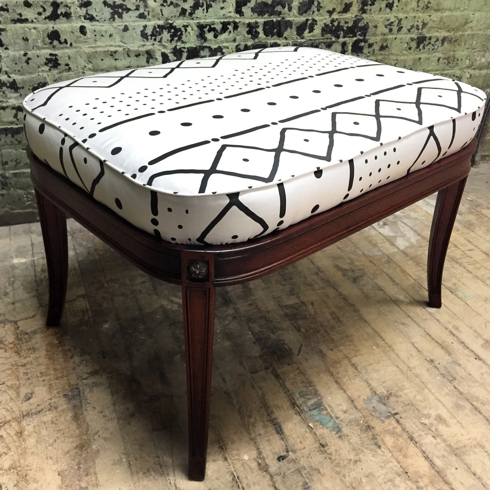 Mud Cloth Oval Ottoman